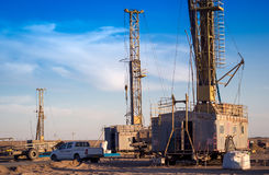 Drilling rigs. Drilling rigs operate in the steppe Royalty Free Stock Photo