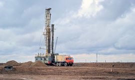Drilling rigs. Operate in the steppe in the spring Stock Photography