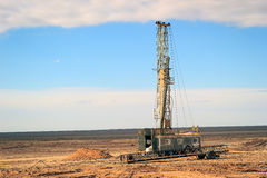 Drilling rigs. Operate in the steppes of Southern Kazakhstan in the spring Stock Photo