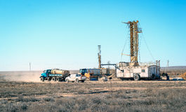 Drilling rigs. And special equipment work in the steppe Stock Photo