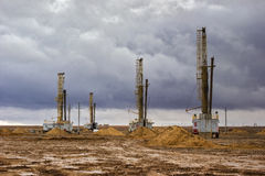 Drilling rigs. In the steppes of southern Kazakhstan Stock Images
