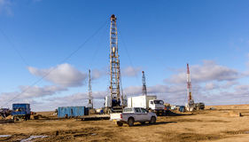 Drilling rigs. In the steppes of southern Kazakhstan Royalty Free Stock Images