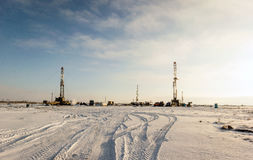 Drilling rigs. In the steppes of southern Kazakhstan Royalty Free Stock Photos