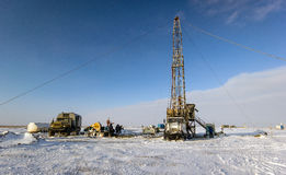 Drilling rigs. In the steppes of southern Kazakhstan Royalty Free Stock Photo
