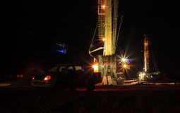 Drilling rigs. Work in the steppe at night Royalty Free Stock Photos