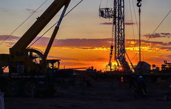 Drilling rigs. Drilling rigs are working in the steppes of southern Kazakhstan Stock Photo