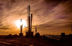 Drilling rigs. Working in the steppes of southern Kazakhstan. Betpakdala Royalty Free Stock Images