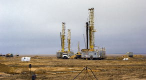 Drilling rigs. Working in the steppes of southern Kazakhstan, Betpakdala Stock Images