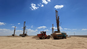 Drilling rigs. Works in the steppes of Southern Kazakhstan Royalty Free Stock Photography