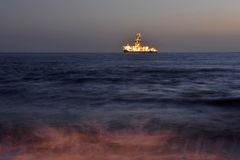 Offshore drill ship on ocean horizon Gran Canaria royalty free stock image