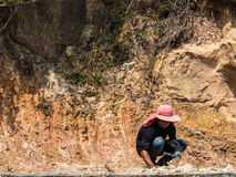 Drilling a stone. Man drilling a stone at the mountain Royalty Free Stock Photos