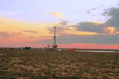 Drilling sunset. Stock Image