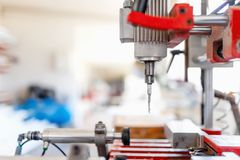 Drilling tool in production factory, manufacturing equipment Royalty Free Stock Image