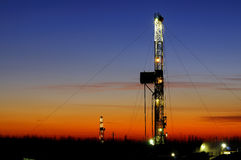 Drilling tower. Rigs in the morning the sky is very beautiful Stock Photo
