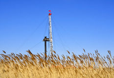 Drilling tower. Stands in the plains on the drilling tower Royalty Free Stock Images