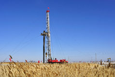 Drilling tower. Stands in the plains on the drilling tower Stock Photo