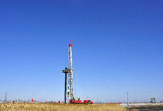 Drilling tower. Stands in the plains on the drilling tower Royalty Free Stock Photos