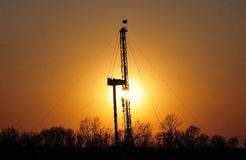 Drilling tower. Sunset sky and drilling tower of beautiful Stock Photo