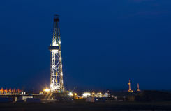 Drilling tower night shanxi china Stock Photo