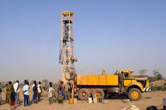 Drilling of a well in Burkina Faso Faso Stock Images