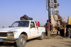 Drilling of a well in Burkina Faso Faso Royalty Free Stock Photo