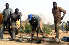 Drilling of a well in Burkina Faso Faso Royalty Free Stock Images