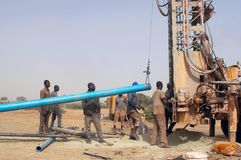 Drilling of a well in Burkina Faso Faso Royalty Free Stock Photos