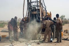 Drilling of a well in Burkina Faso Faso Stock Image