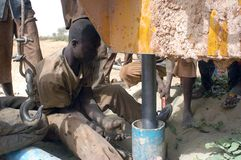 Drilling of a well in Burkina Faso Faso Stock Photography