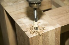 Drilling wood Stock Image