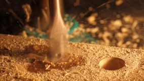 Drilling wood. stock footage