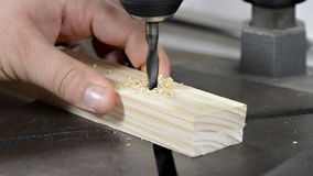 Drilling into Wood. Close-up video of drilling into Wood stock video footage