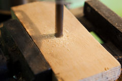 The drilling a wood closeup Royalty Free Stock Photography