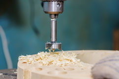 Drilling wooden blank Royalty Free Stock Image