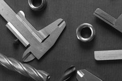 Drills and measuring tools Stock Image