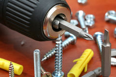 Drills, screws & Plugs Royalty Free Stock Images