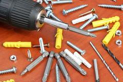 Drills, screws & Plugs Stock Image