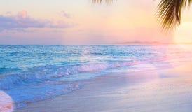 Drims das férias de Art Summer; O por do sol bonito sobre o tropical seja imagens de stock royalty free