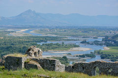 Drin河- Rozafa城堡谷  库存图片