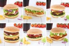 Drin колы еды меню бургера cheeseburger собрания гамбургера установленное Стоковые Изображения
