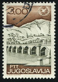 Drina Bridge in Visegrad. RUSSIA KALININGRAD, 12 NOVEMBER 2016: stamp printed by Yugoslavia, shows the Drina Bridge in Visegrad, circa 1967 stock photos