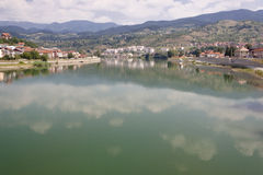 Drina river. Drina diver and view on Visegrad town from old Bridge. Bosnia and Herzegovina, Balkans stock image