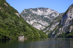 Drina river canyon landscape summer season. Serbia stock photo