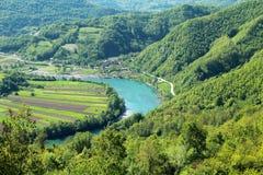 Drina van de rivier in de bergen van tara, Servië Royalty-vrije Stock Foto's