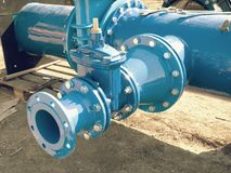 Dring water piping , Gate valves and reduction member. Royalty Free Stock Image