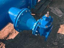 Dring water piping , Gate valves and reduction member. Stock Photos