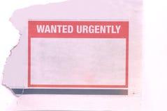 Dringend gewünscht Lizenzfreies Stockbild