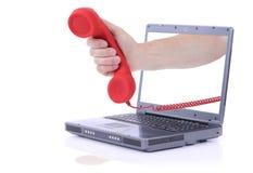Dringender Anruf des Laptops Stockfotografie