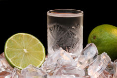 Drink 01. Cold drink in crystal glass and lime Royalty Free Stock Photos