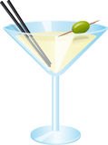 Drink. Illustration of a glass of martini with an olive royalty free illustration